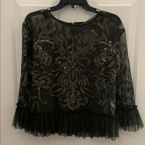 Indigo Moon  Embroidered Lace Sequin Top